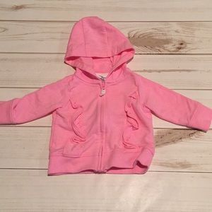Pink Ruffled Zip Up Hoodie Sweatshirt 3M